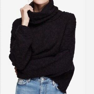 NWT Free people black big easy cowl neck sweater